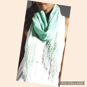 Gypsy ombre scarf with tassels light mint green
